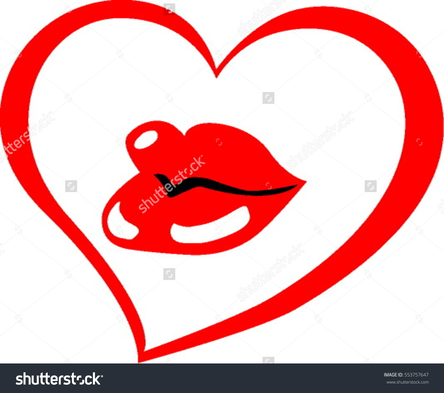 Sexy Glossy Red Lips Heart Frame Stock Vector 553757647.