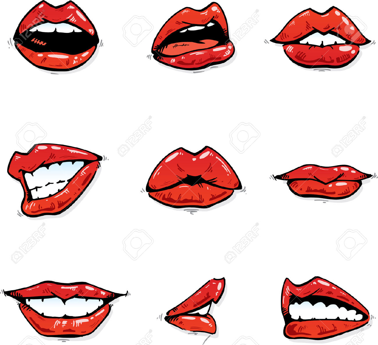Glossy Red Lips Collection In Various Expressions Illustration.