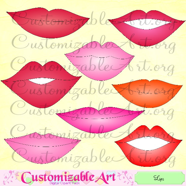 glossy red lips clipart #8