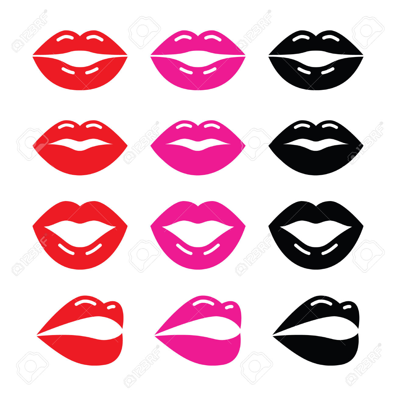 Lips, Kiss Red, Pink And Black Glossy Icon Royalty Free Cliparts.