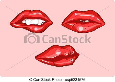 Clip Art Vector of Red lips.