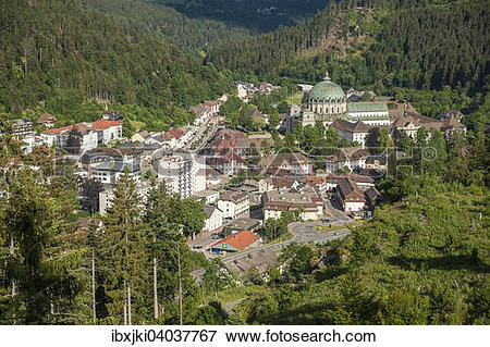 """Picture of """"View from Mt Weissenstein, St. Blaise Abbey and St."""