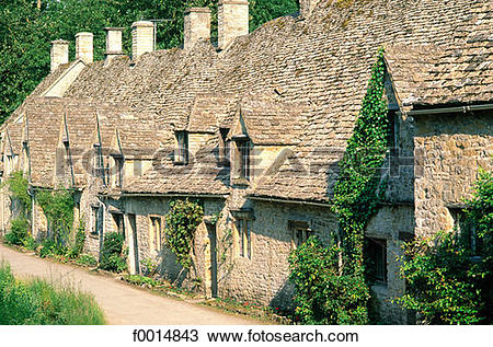Stock Photo of England, Gloucestershire, Bibury village in the.
