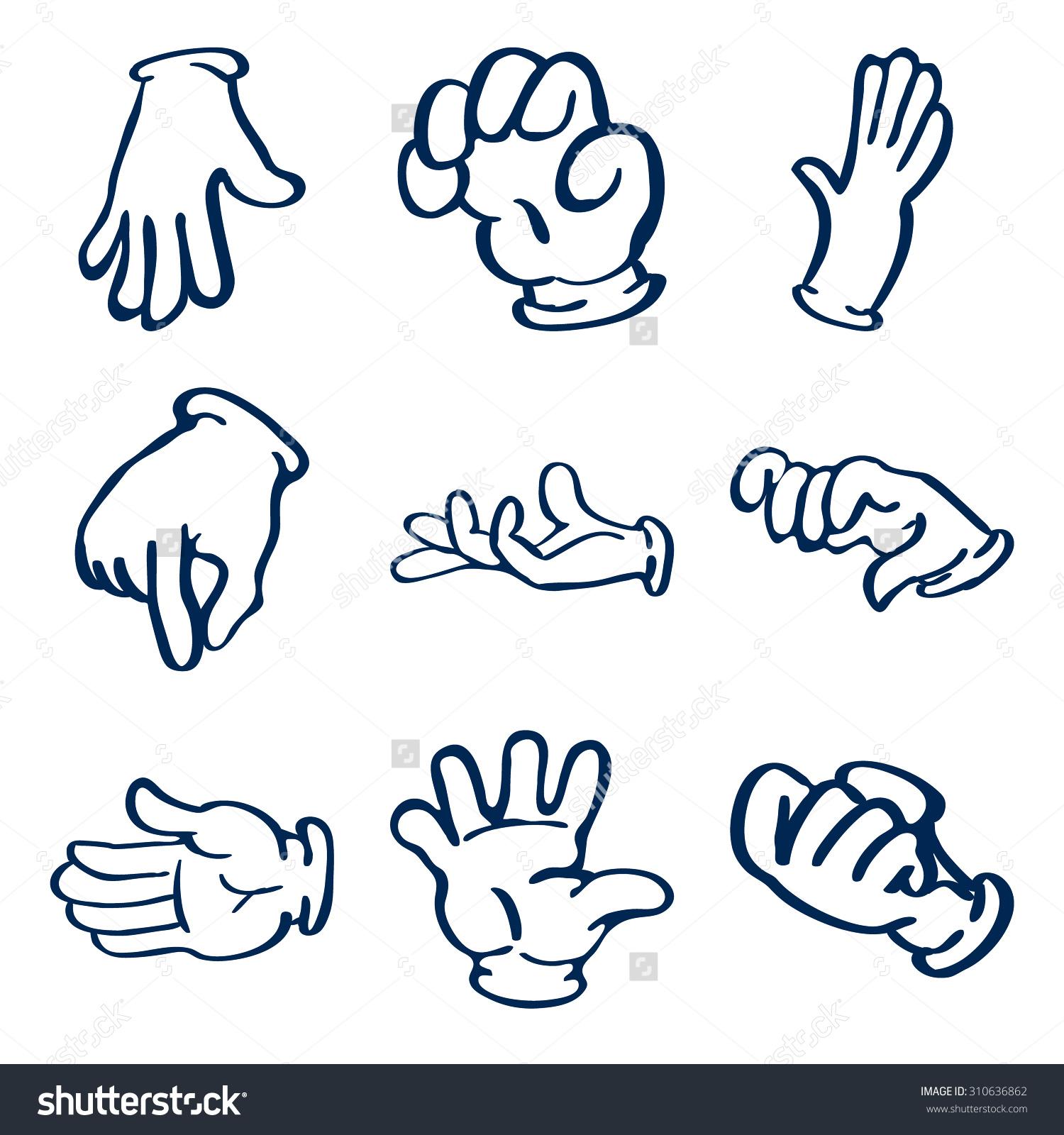 Cartoon Gloved Hands Clip Art Illustration Stock Illustration.