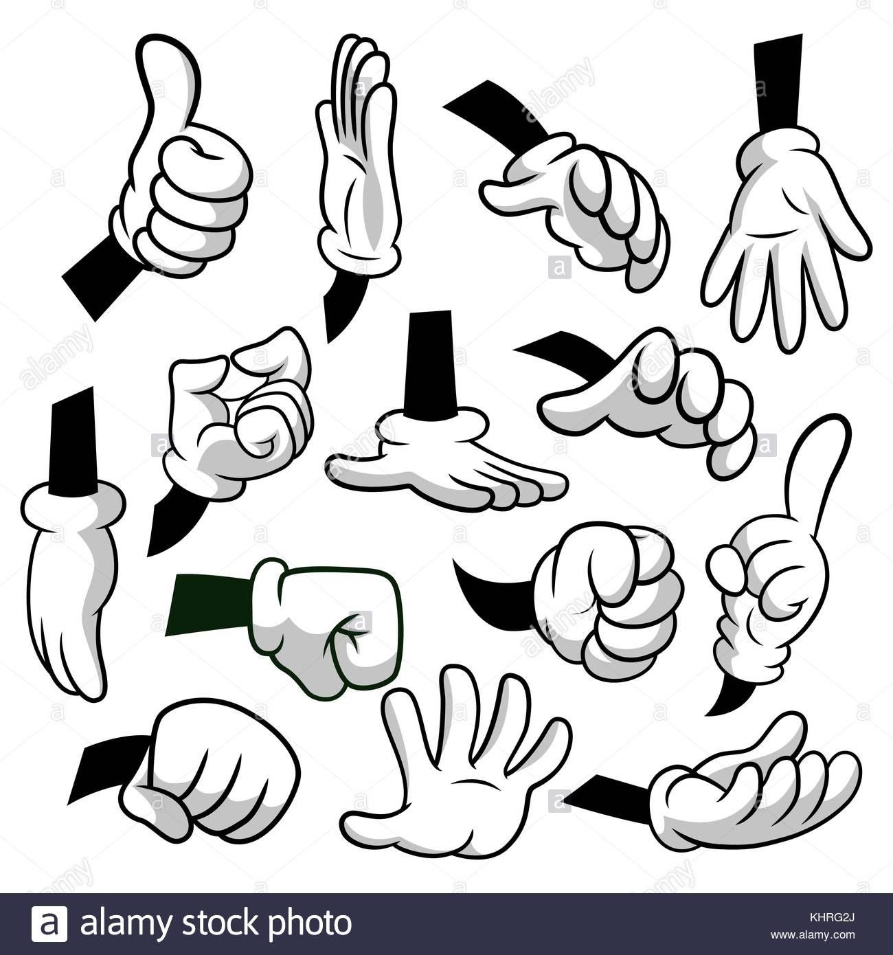 Cartoon hands with gloves icon set isolated on white background.