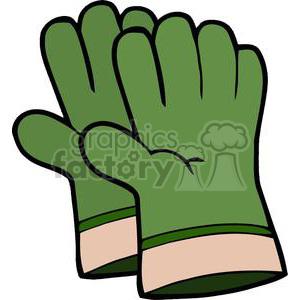 Green gardening gloves clipart. Royalty.