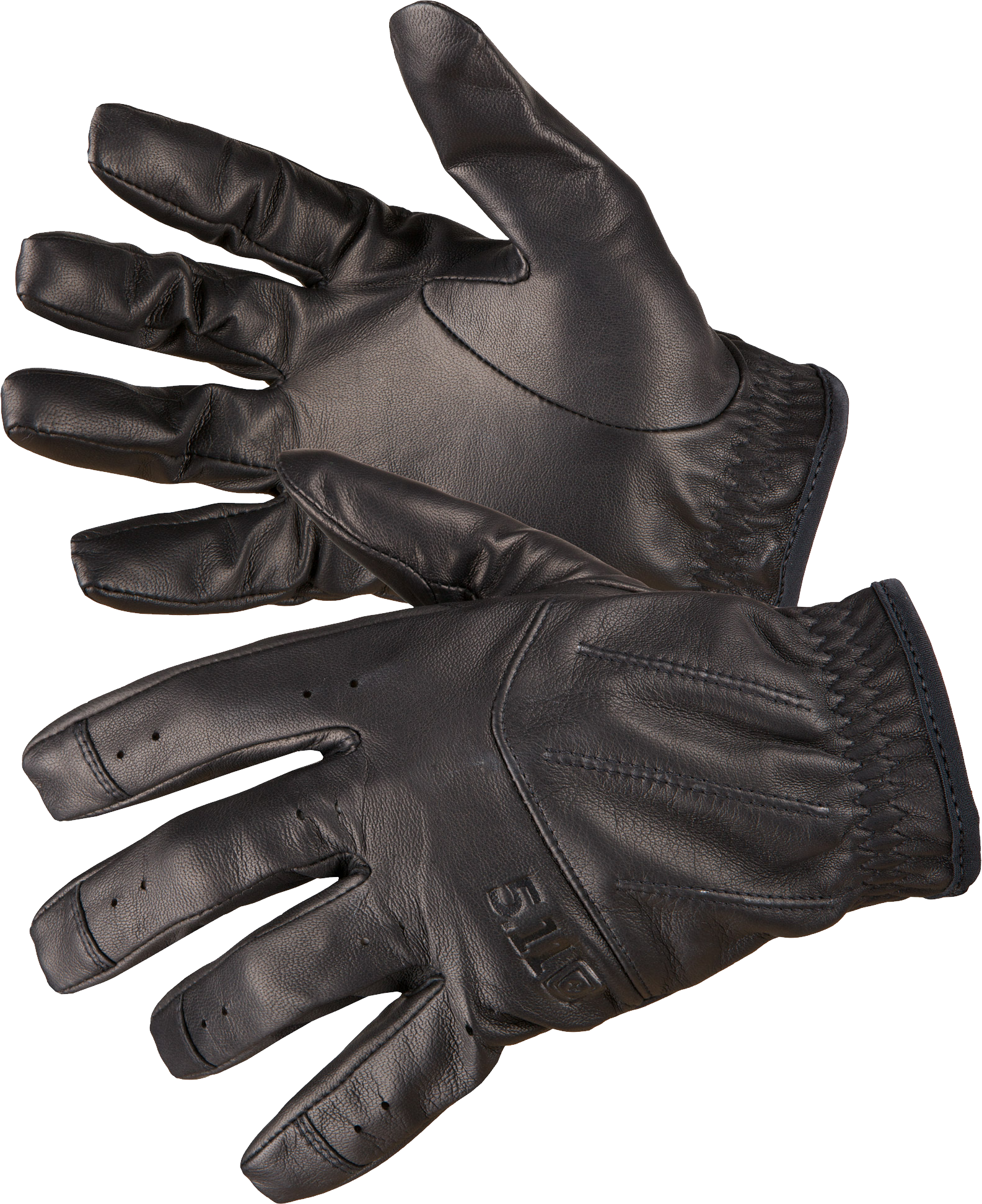 Black Leather Gloves PNG Image.