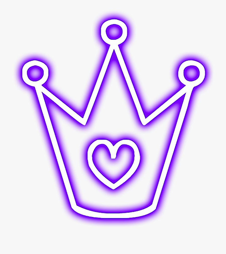 crown #glowing #heart #snapchat #neon #purple.