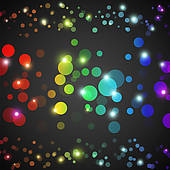 Clip Art of Abstract rainbow glowing circles with lights and dark.