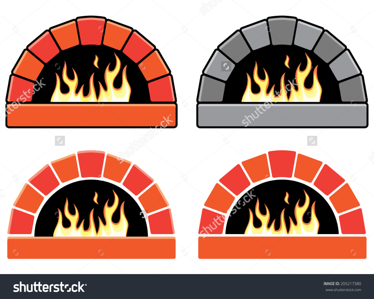 Vector Clipart Set Of Ovens With Burning Fire.