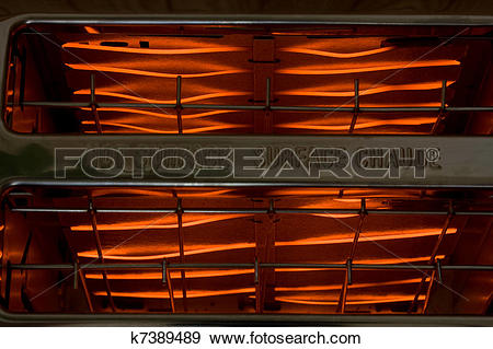 Stock Photograph of Red Hot Glowing Toaster Coils k7389489.