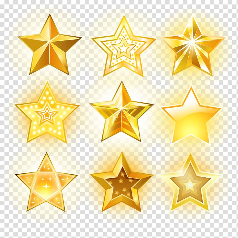 Gold stars illustration, Euclidean Star Icon, glowing star.