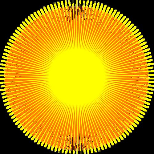 Glowing sun vector clip art.