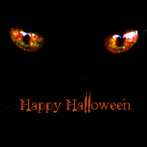 Clipart Graphic of Glowing Orange Cat Eyes.