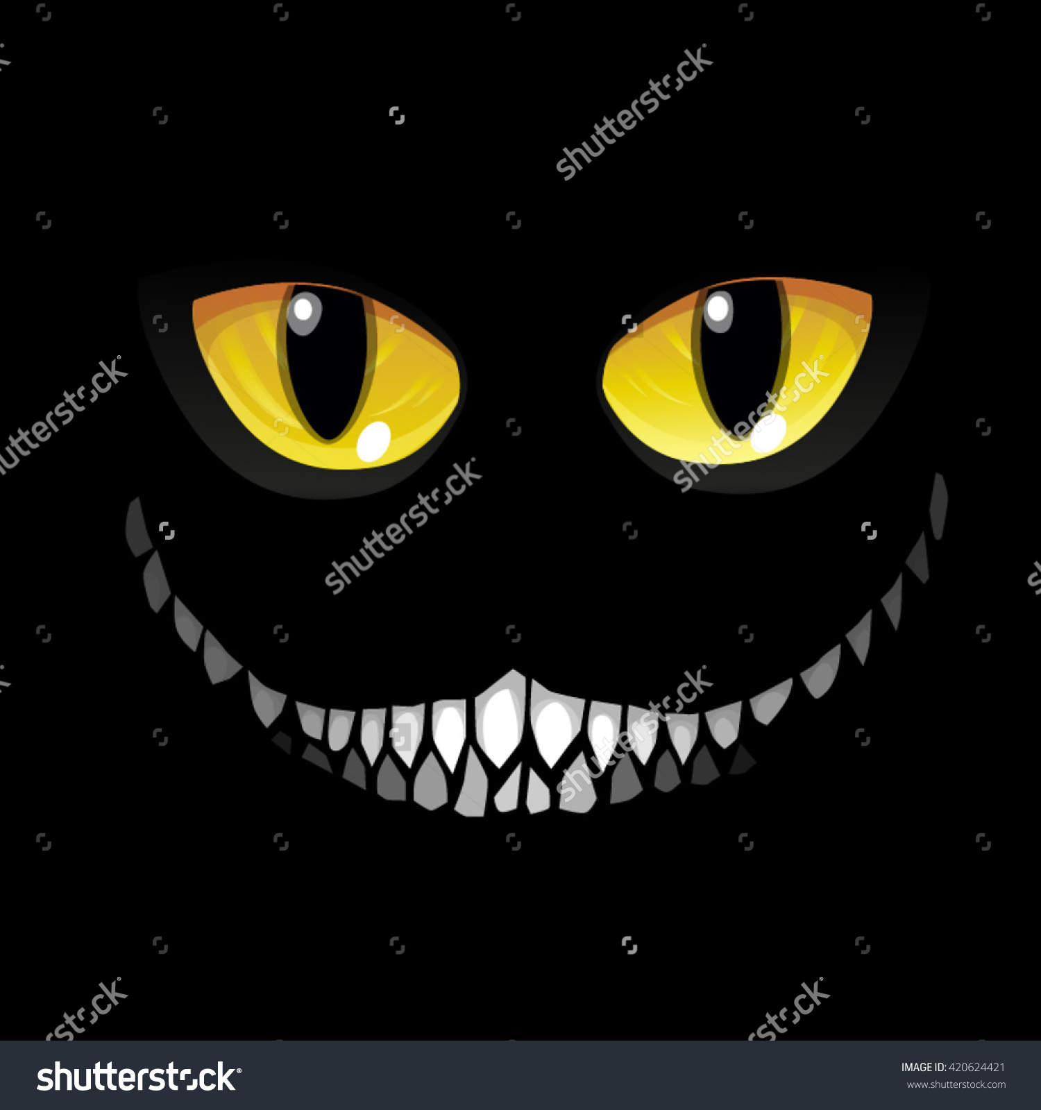 Black Cat Darkness Glowing Eyes Sinister Stock Vector 420624421.
