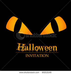Orange Eyes Over a Halloween Party Invitation.
