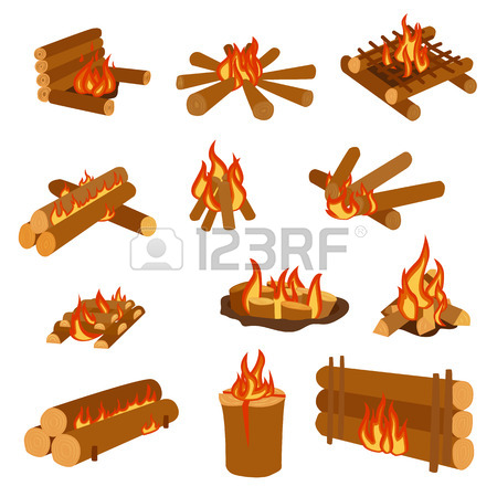 Isolated Illustration Of Campfires Logs Burning Bonfires. Bonfires.