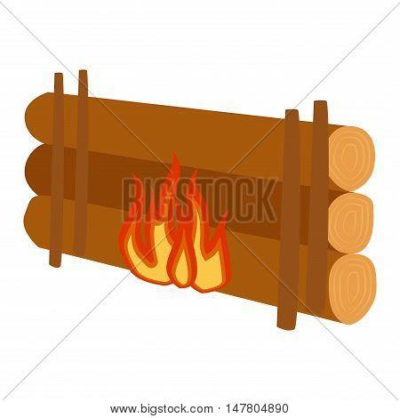 Isolated illustration of campfires logs burning bonfire. Bonfires.