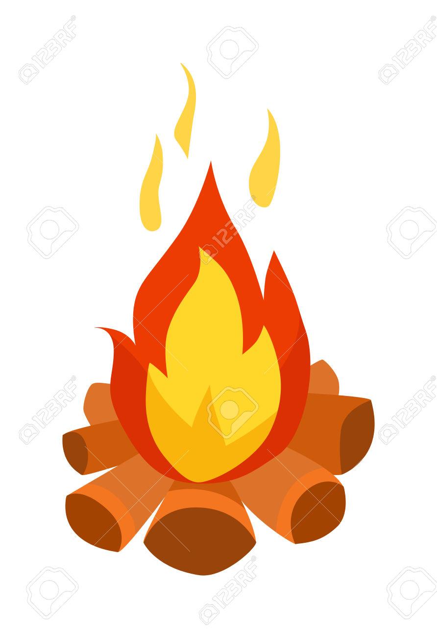 Isolated Illustration Of Campfires Logs Burning Bonfire. Bonfire.