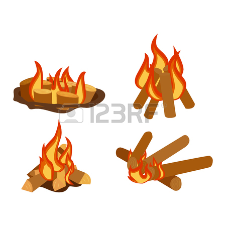 Isolated Illustration Of Campfires Logs Burning Bonfires. Bonfires.