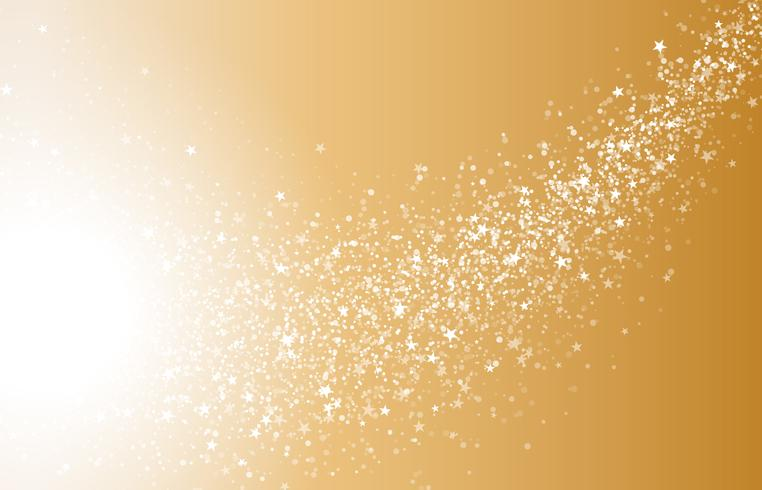 Abstract Gold White Shimmer Glowing Round Particles.