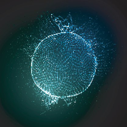 3D illuminated sphere of glowing particles Clipart Image.