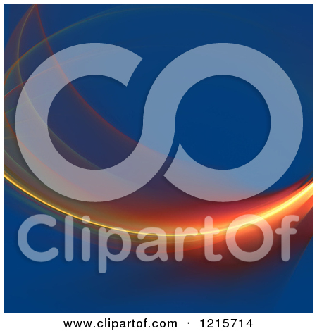 Clipart of a Glowing Red and Orange Fractal Swoosh over Blue.