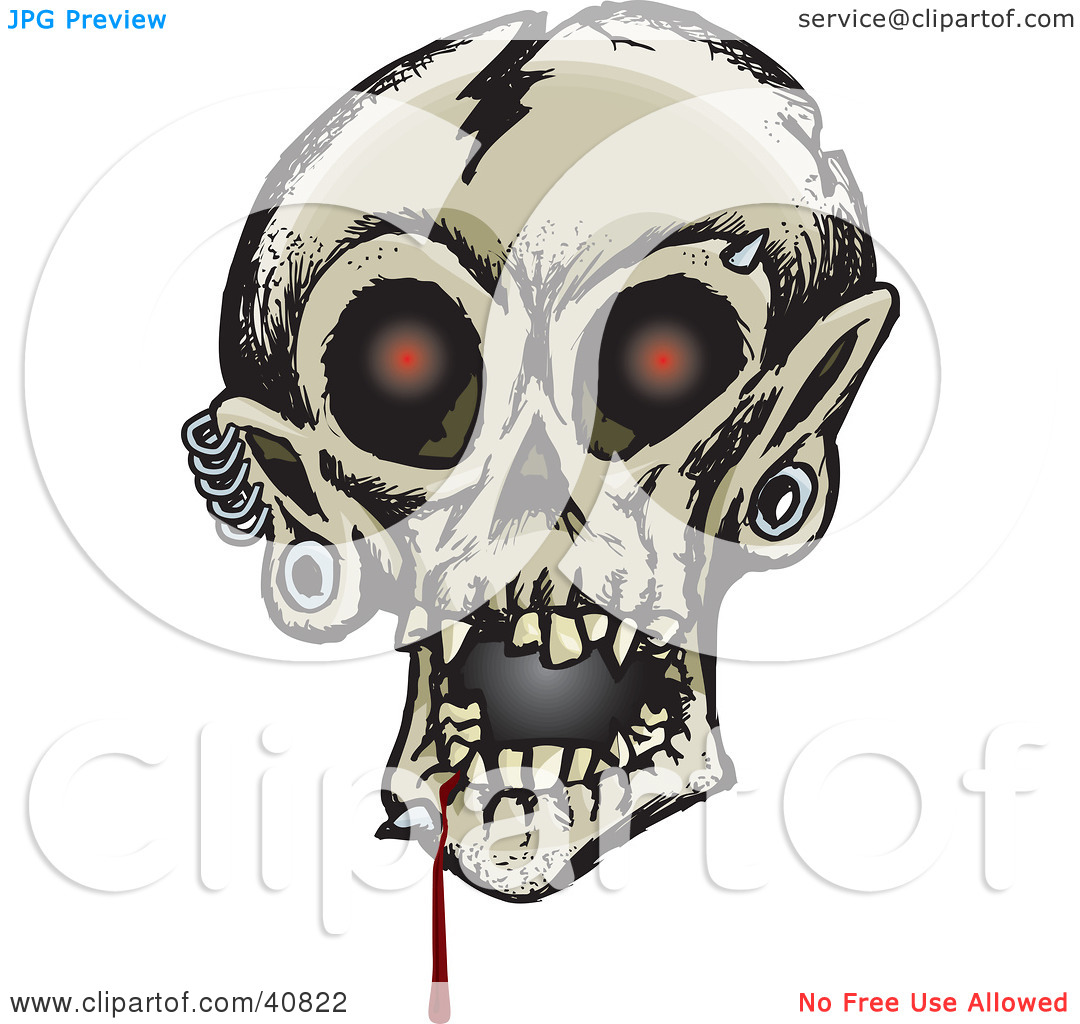 Clipart Illustration of a Creepy Human Skull With Glowing Red Eyes.