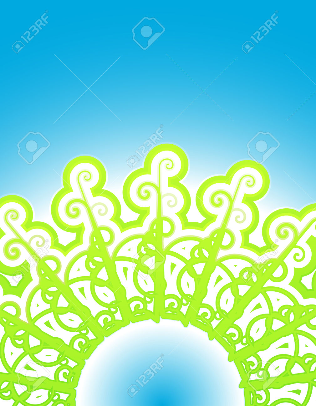 Vector Illustration Of Abstract Vines Forming A Circular Pattern.