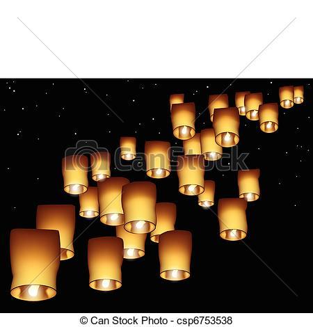 Vector of Sky lanterns.