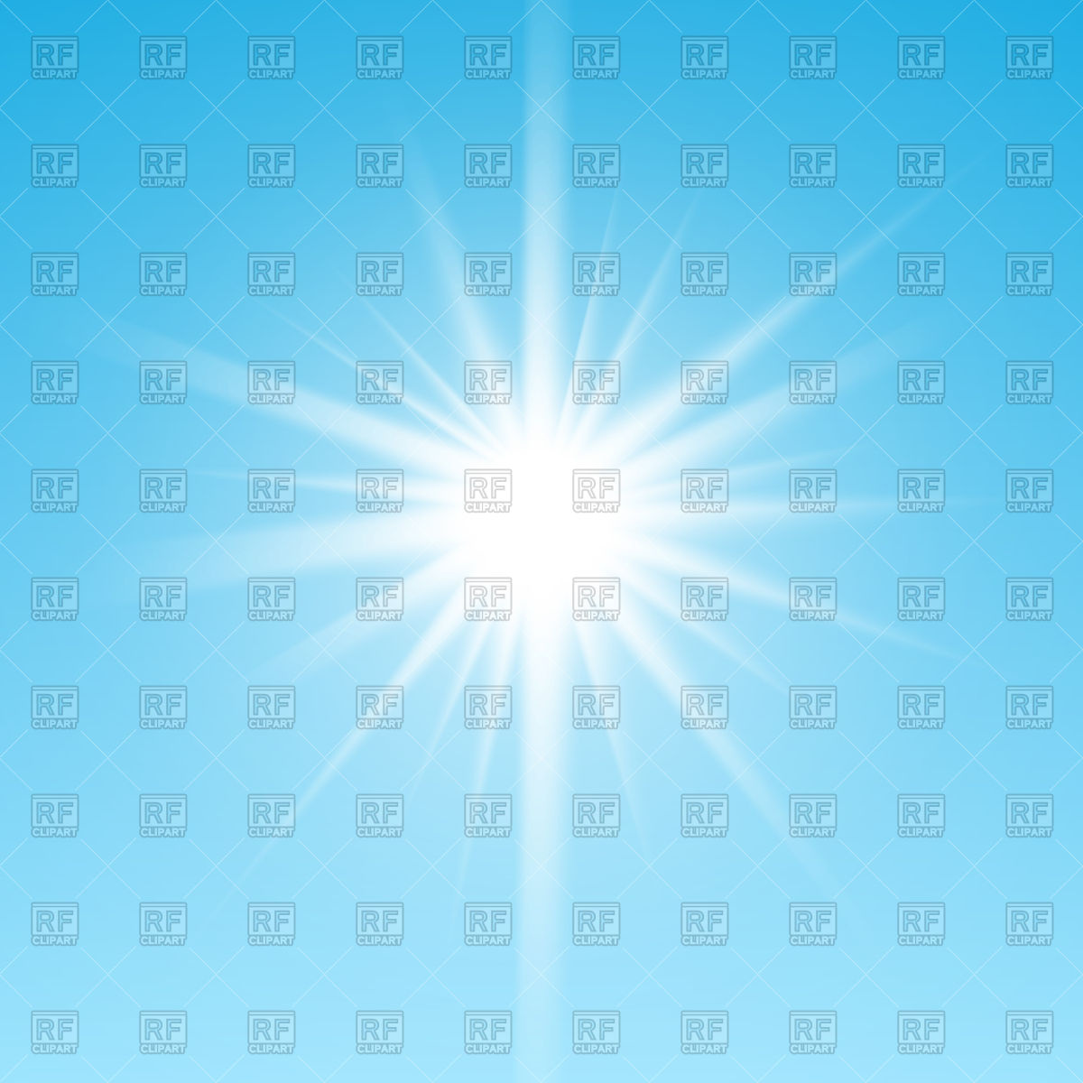 White glowing light on blue sky background Vector Image #126700.
