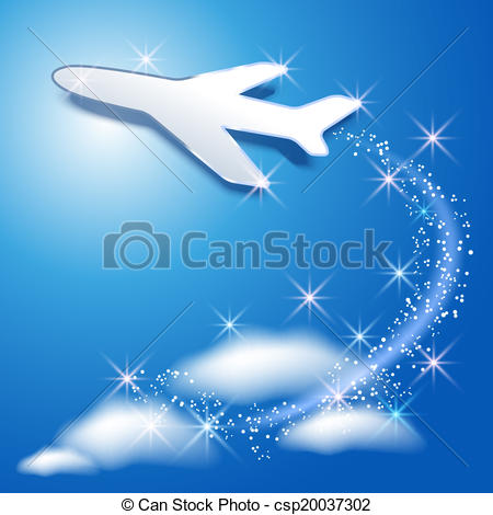 Vector Clipart of Airplane fly up in the sky and glowing sparkle.