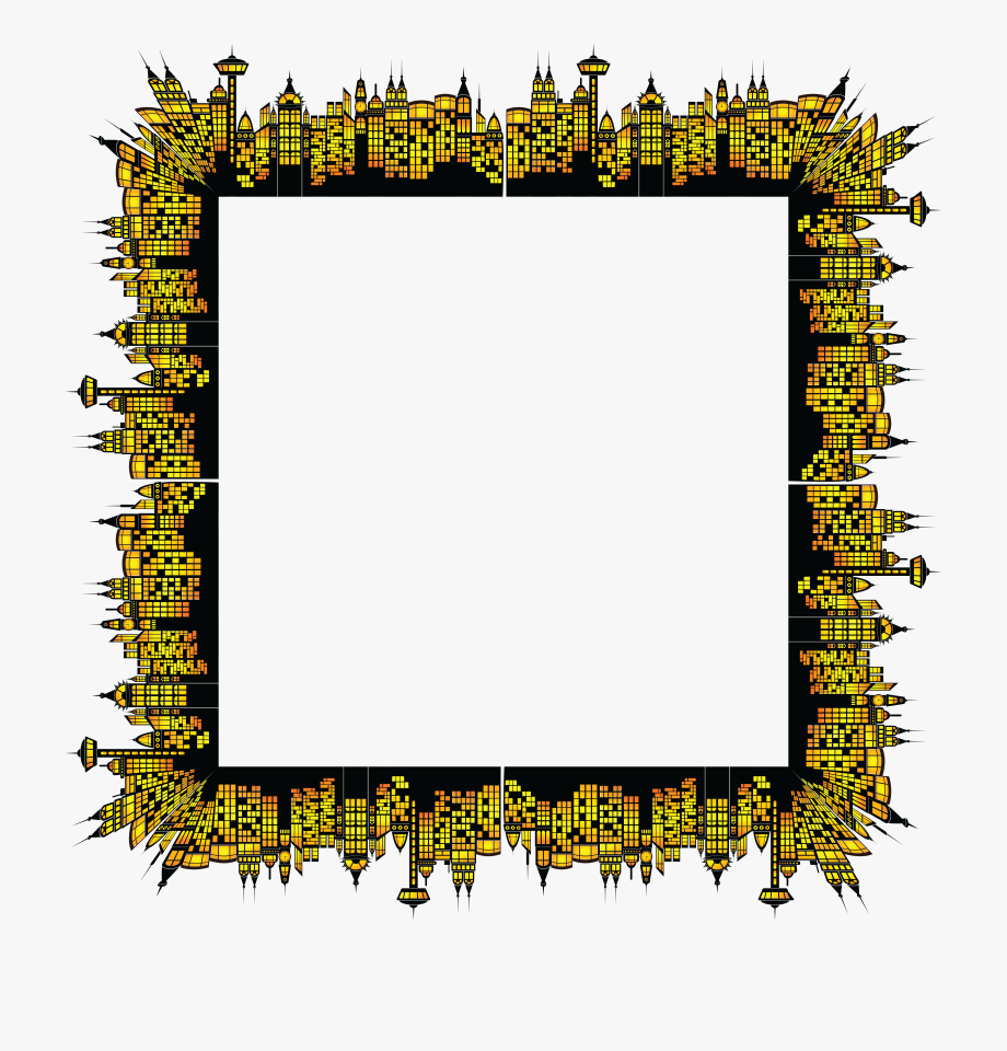Free Clipart Of A Square Frame Of Glowing City Buildings.