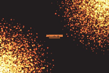 Golden Shimmer Glowing Square Particles Vector Background.