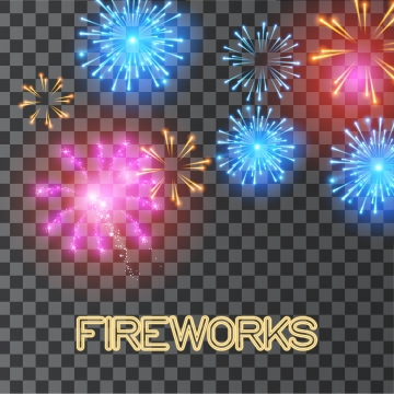 Colorful Fireworks Clipart And Glowing Light Effects Light.