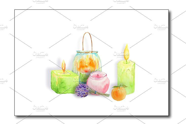 Watercolor Clipart Glowing Candles #jars#shapes#perfect.