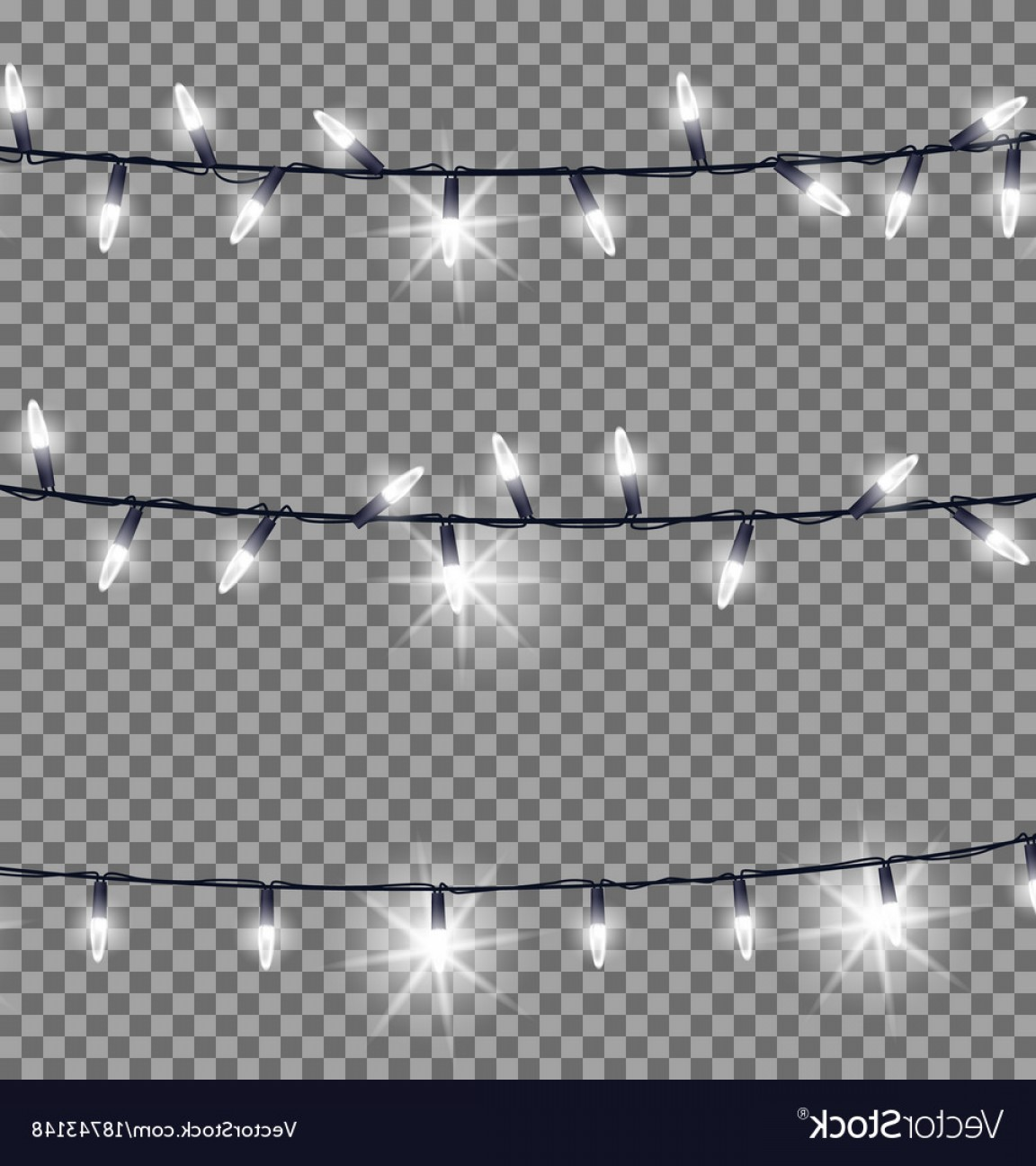 Strings Of Glowing Christmas Lights Vector.