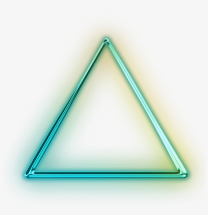 Transparent Neon Glowing Triangle.
