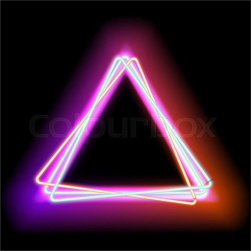 Stock image of 'Neon triangle. Neon red light. electric frame.
