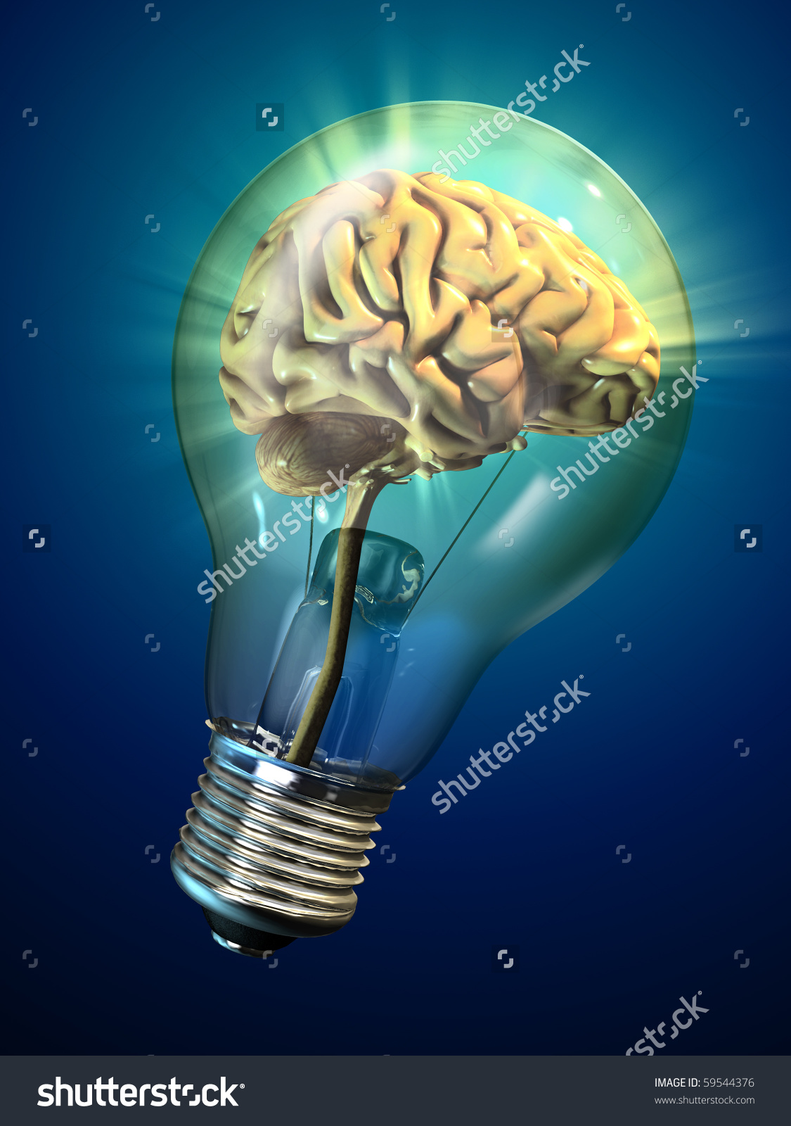 Human Brain Inside Glowing Electrical Bulb Stock Illustration.