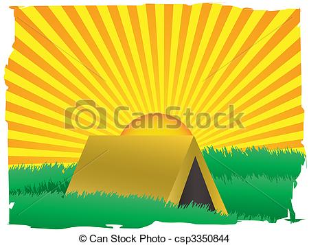 EPS Vector of Glowing sun rise over camping tent inside grassy.