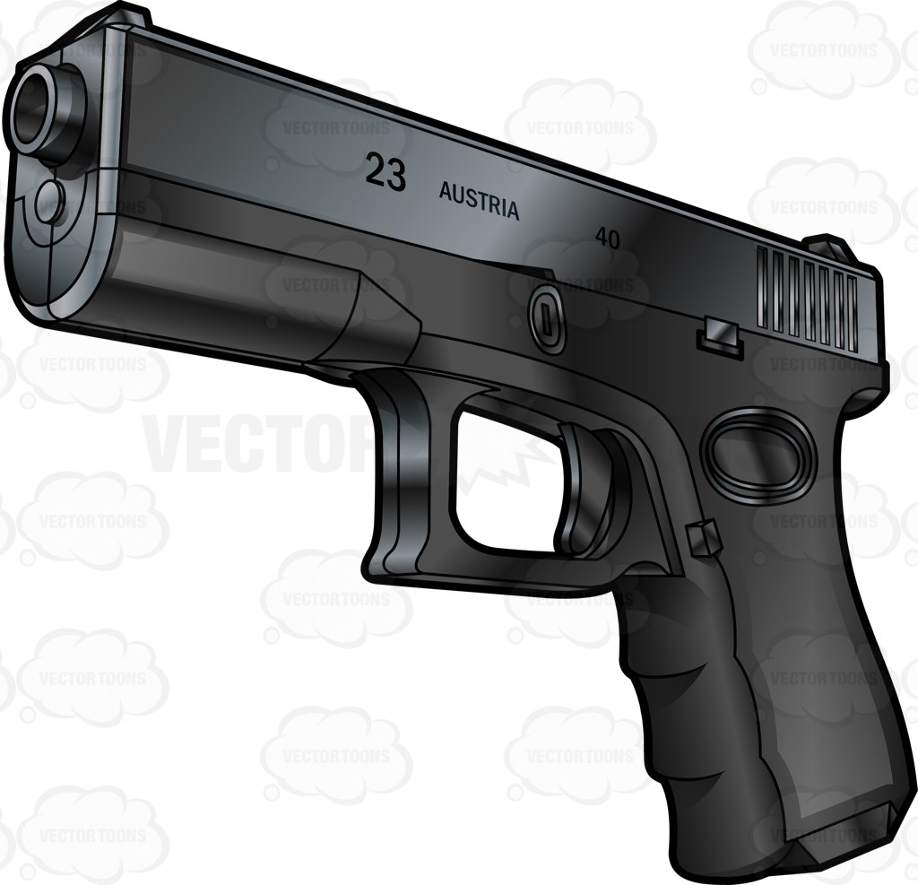 Font Side View Of A Glock Semi Automatic Short Recoil Pistol.