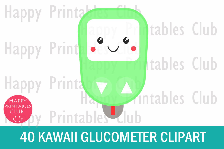 40 Kawaii Glucometer Clipart.