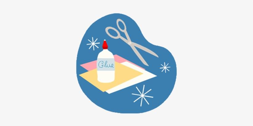 Clipart Image Depicting Glue Scissors Paper.