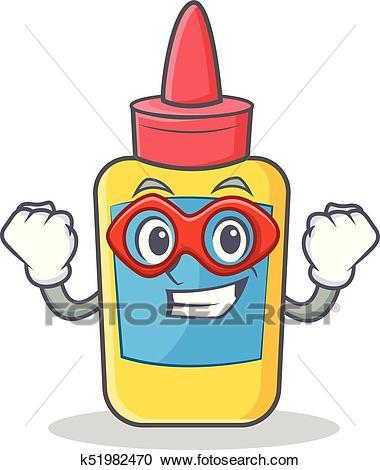 Super hero glue bottle character cartoon Clipart.