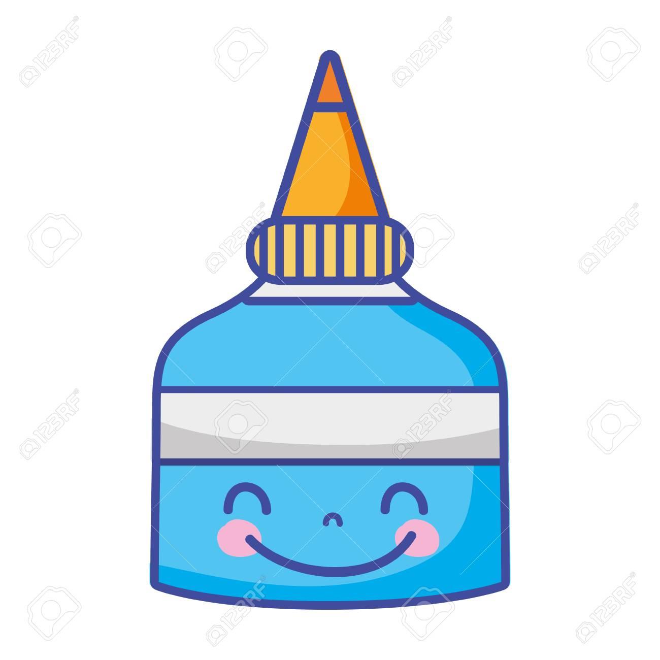 cute happy glue bottle.
