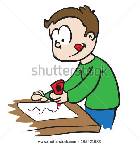 Little Boy Gluing Paper Cartoon Stock Photo 185421983 : Shutterstock.