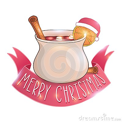 Mulled Wine With Cinnamon Vector Illustration Stock Image.