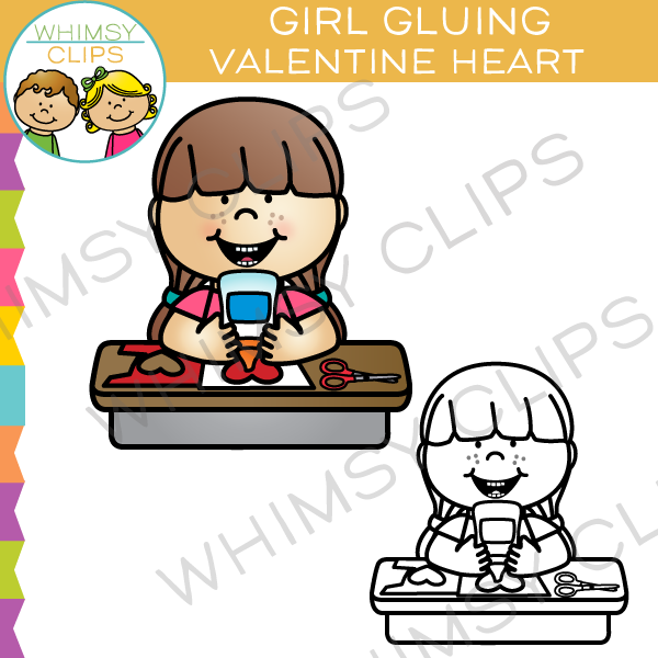 Girl Gluing Valentine Heart Clip Art , Images & Illustrations.