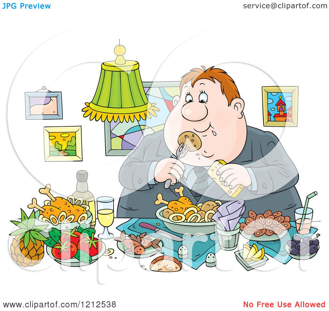 Cartoon of a Gluttonous Obese Man Eating a Feast.